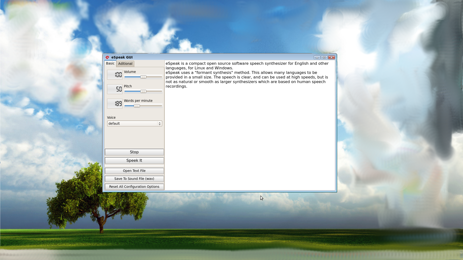 Simple graphical user interface for espeak